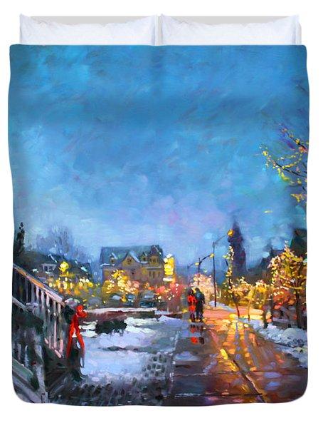 Lights On Elmwood Ave Duvet Cover