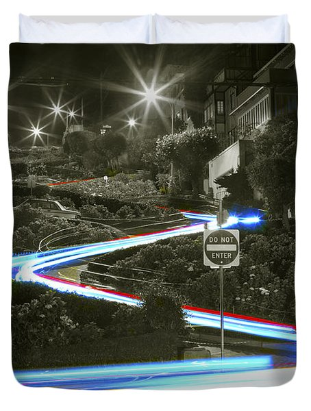 Lights On Lombard Black And White Duvet Cover