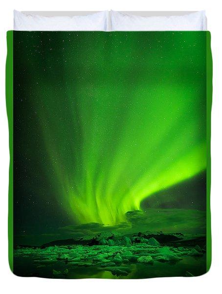 Duvet Cover featuring the photograph Lights Over Jokulsarlon by Chris McKenna