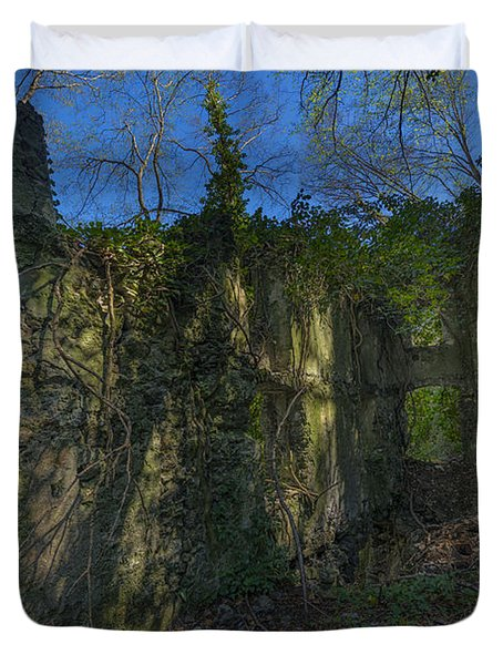 Ligurian Jungle Covering Up Old Mill Ruins Duvet Cover