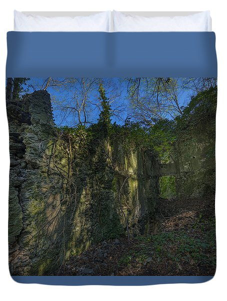 Duvet Cover featuring the photograph Ligurian Jungle Covering Up Old Mill Ruins by Enrico Pelos