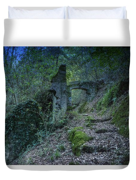 Duvet Cover featuring the photograph Ligurian Jungle Covering Up Old Mill Valley Entrance Arch Ruins by Enrico Pelos