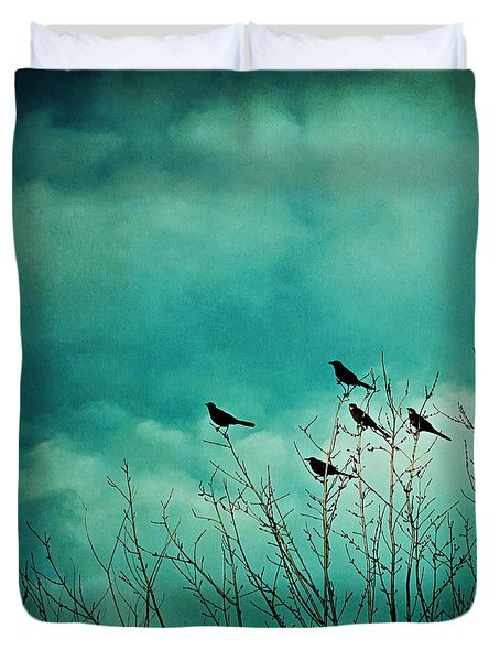 Duvet Cover featuring the photograph Like Birds On Trees by Trish Mistric