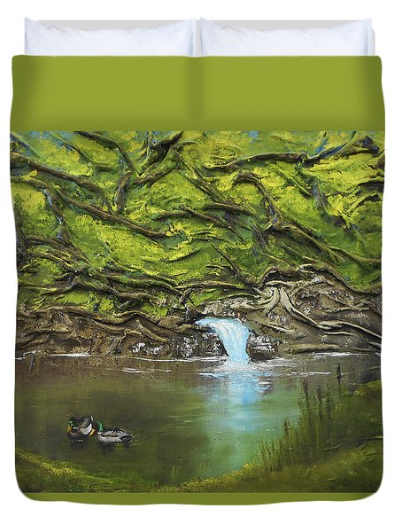 Like Ducks On Water Duvet Cover by Angela Stout