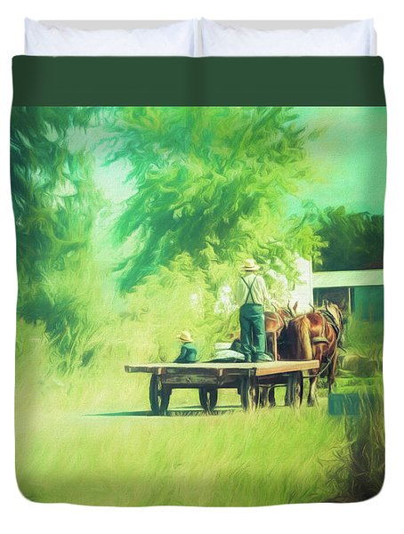Duvet Cover featuring the photograph Like Father, Like Son by Joel Witmeyer