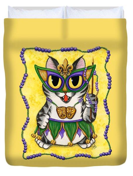Lil Mardi Gras Cat Duvet Cover