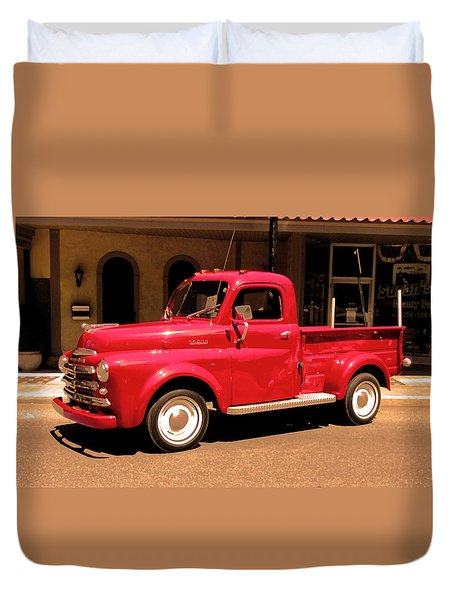Lil Red Truck On A Dusty Street Duvet Cover