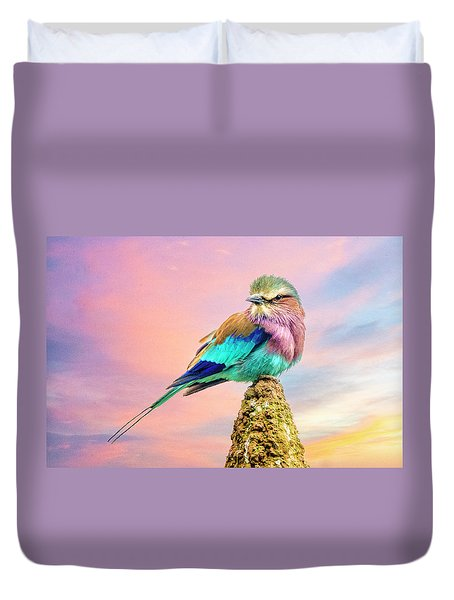 Lilac Breasted Roller At Sunset Duvet Cover by Brian Tarr