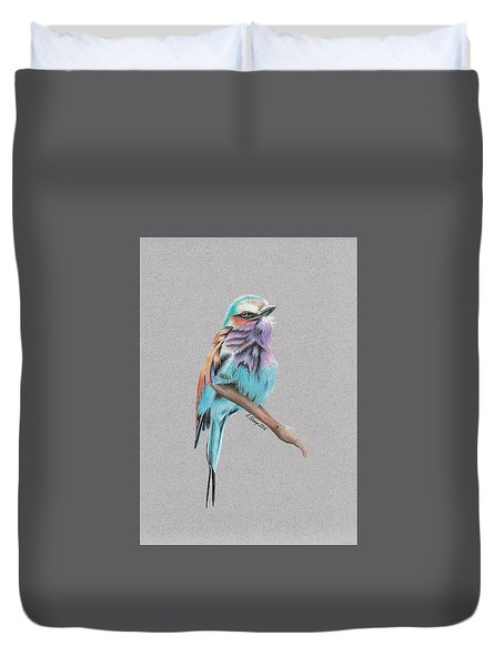 Duvet Cover featuring the drawing Lilac Breasted Roller by Gary Stamp