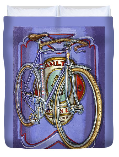 Duvet Cover featuring the painting Lilac Carlton Porteur by Mark Howard Jones