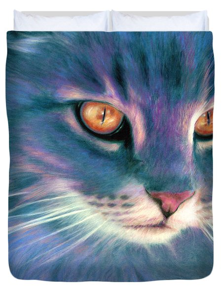 Duvet Cover featuring the painting Lilac Cat by Ragen Mendenhall