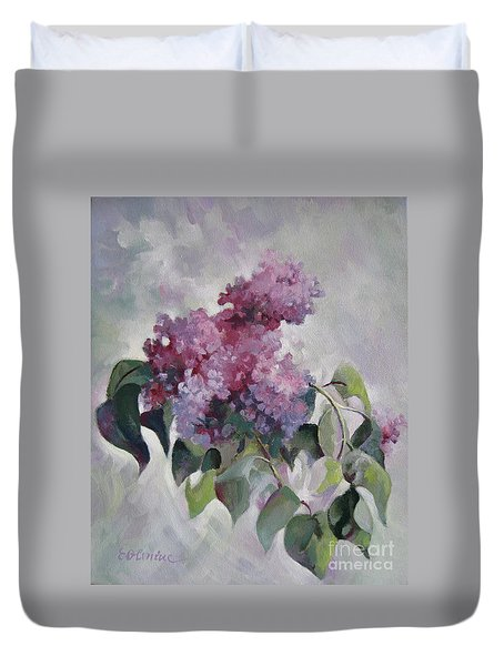 Duvet Cover featuring the painting Lilac by Elena Oleniuc