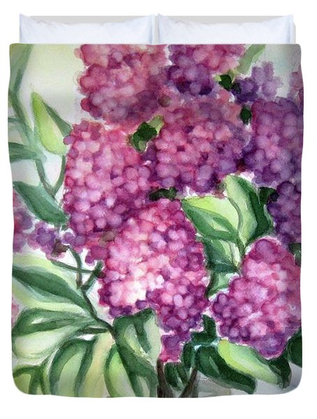 Duvet Cover featuring the painting Lilac On The Kitchen Table by Inese Poga