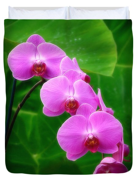 Lilac Orchid Beauties Duvet Cover