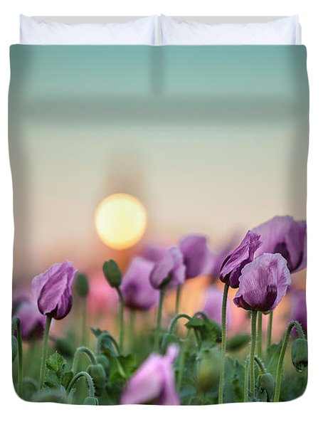 Lilac Poppy Flowers Duvet Cover
