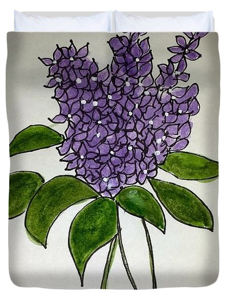 Duvet Cover featuring the painting Lilac Posy by Margaret Welsh Willowsilk