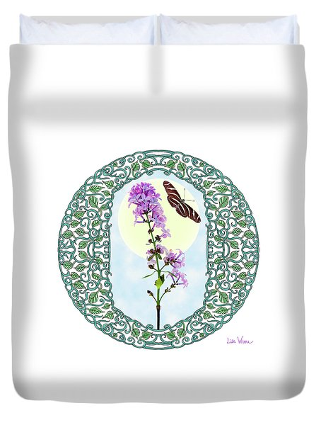 Lilac With Butterfly Duvet Cover by Lise Winne