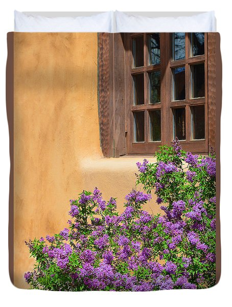 Lilacs And Adobe Duvet Cover