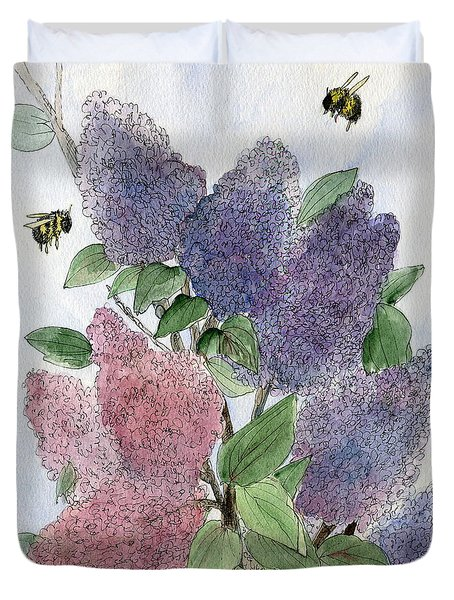 Lilacs And Bees Duvet Cover