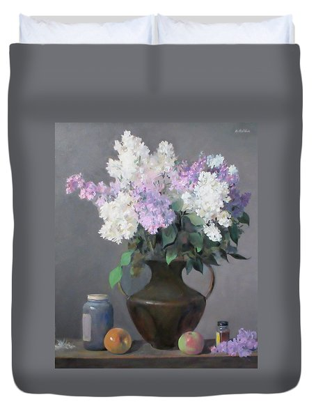 Lilacs In Bronze Chinese Vase, Apples Duvet Cover