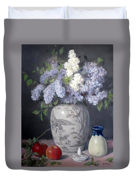 Lilacs In Chinese Ginger Jar With Lid, Apples Duvet Cover