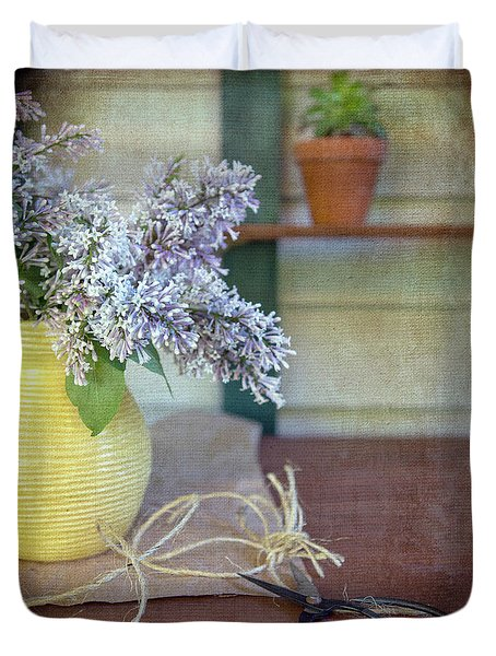 Lilacs In Yellow Vase Duvet Cover