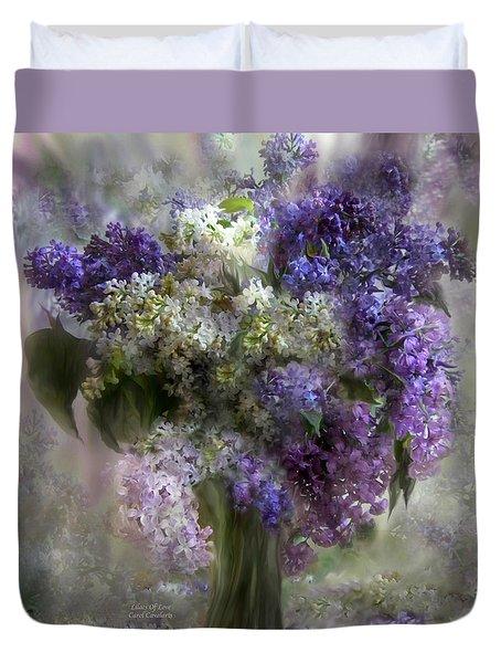 Lilacs Of Love Duvet Cover by Carol Cavalaris