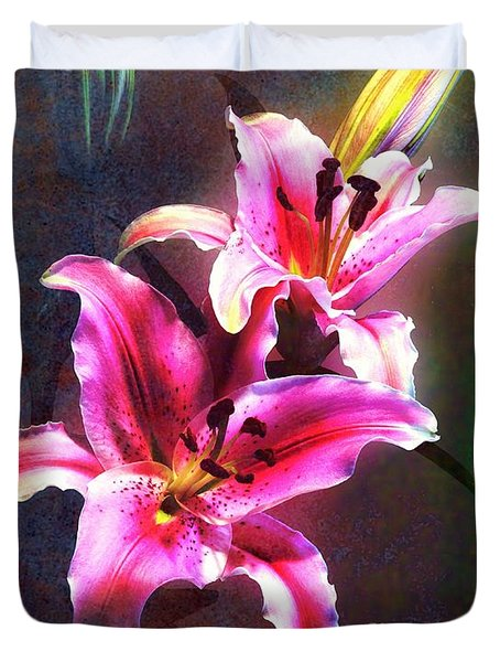 Lilies At Night Duvet Cover