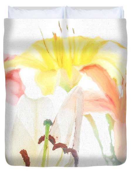 Duvet Cover featuring the photograph Lilies by David Perry Lawrence
