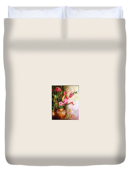 Duvet Cover featuring the painting Lilies In The Pots by Harsh Malik