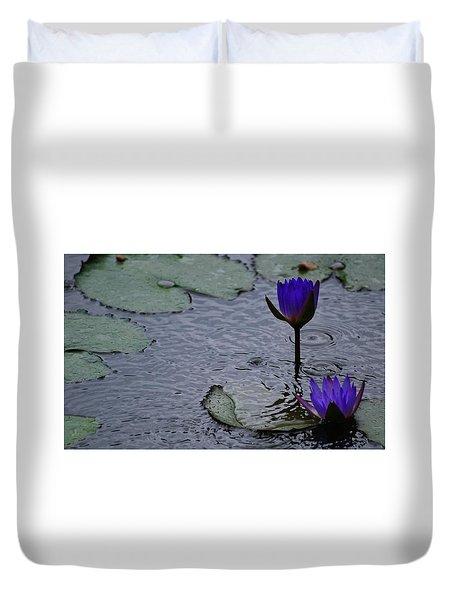 Lilies In The Rain Duvet Cover