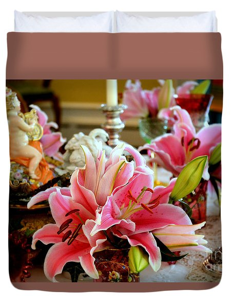 Lilies On A Dining Table Duvet Cover by Tanya Searcy