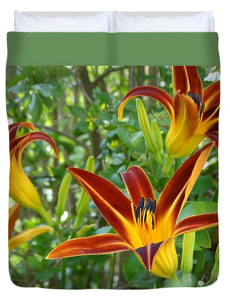 Lilies Sunrise Duvet Cover by Rebecca Overton