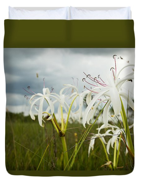 Lilies Thunder Duvet Cover by Christopher L Thomley