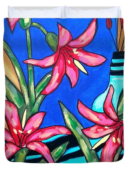 Lilies With A Vase Duvet Cover