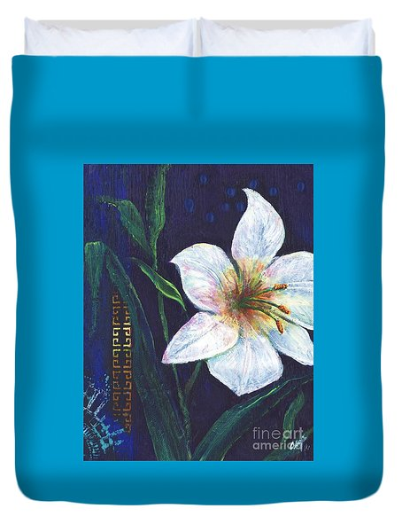 Duvet Cover featuring the painting Lily by Alga Washington