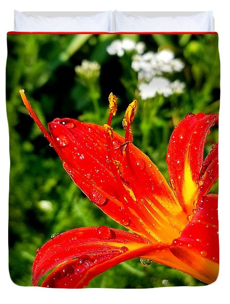Lily And Raindrops Duvet Cover