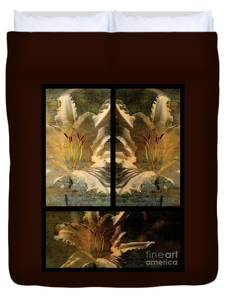 Lily Collage Duvet Cover by Lois Bryan