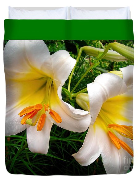 Duvet Cover featuring the photograph Lily Duet by Sue Melvin