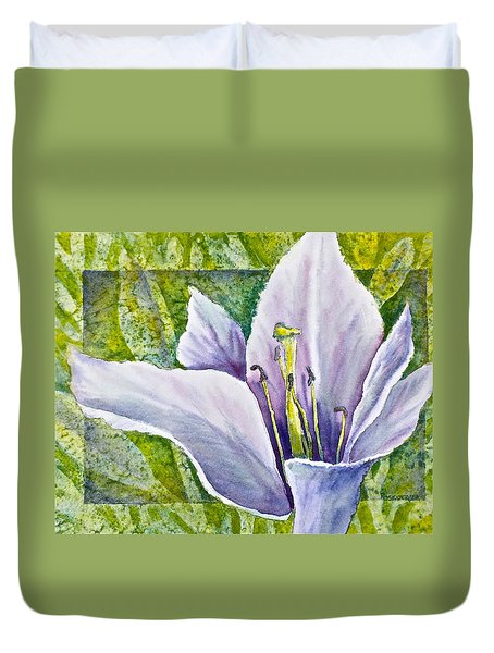 Lily In Purple Duvet Cover by Carolyn Rosenberger