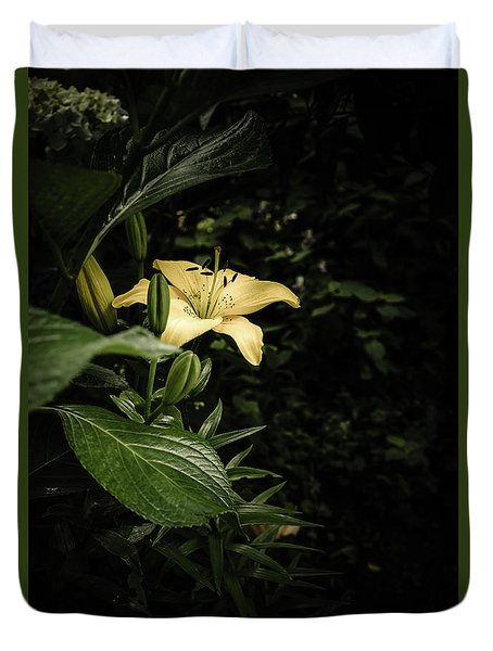 Duvet Cover featuring the photograph Lily In The Garden Of Shadows by Marco Oliveira