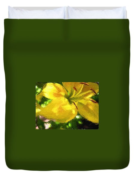 Duvet Cover featuring the photograph Lily by Kathy Bassett