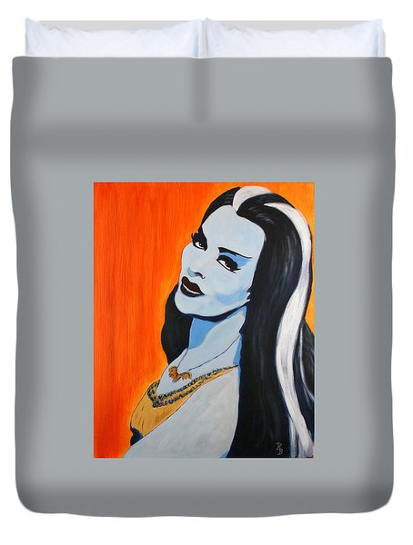 Duvet Cover featuring the painting Lily Munster - Yvonne De Carlo by Bob Baker