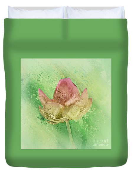 Duvet Cover featuring the mixed media Lily My Lovely - S112sqc88 by Variance Collections