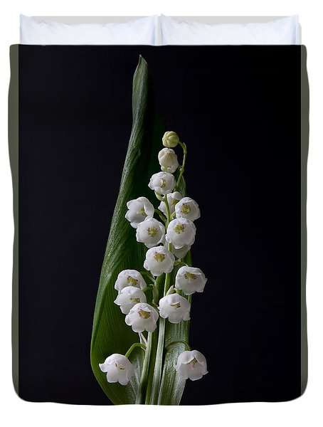 Lily Of The Valley On Black Duvet Cover