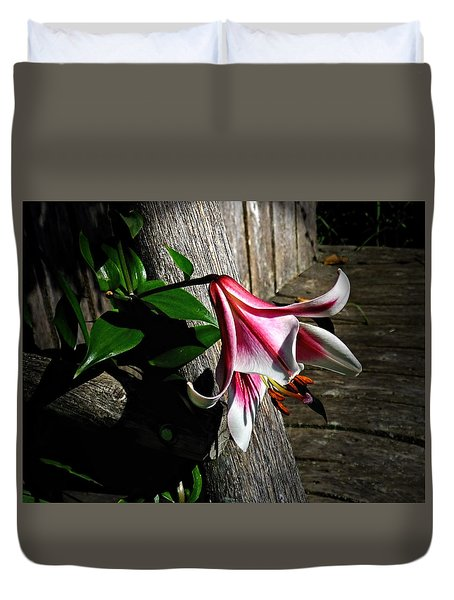 Lily On Barn Wood Duvet Cover