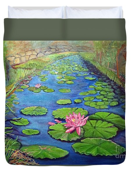 Duvet Cover featuring the painting Water Lily Canal by Ecinja Art Works