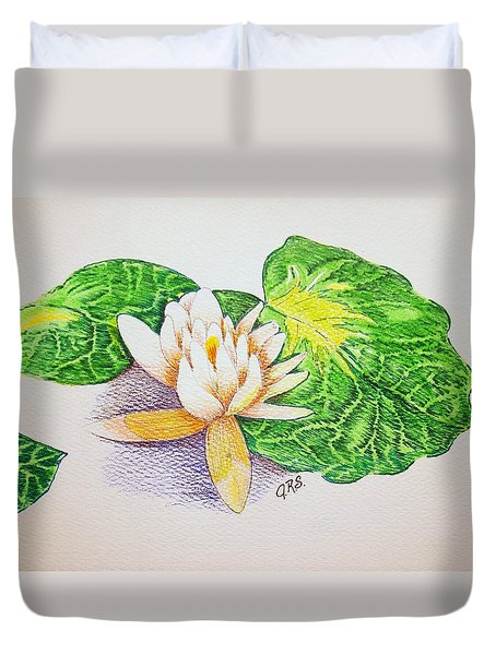 Duvet Cover featuring the drawing Lily Pad by J R Seymour