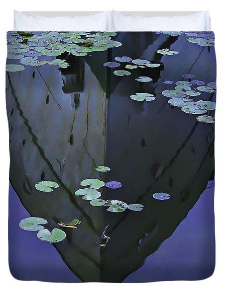 Lily Pads And Reflection Duvet Cover