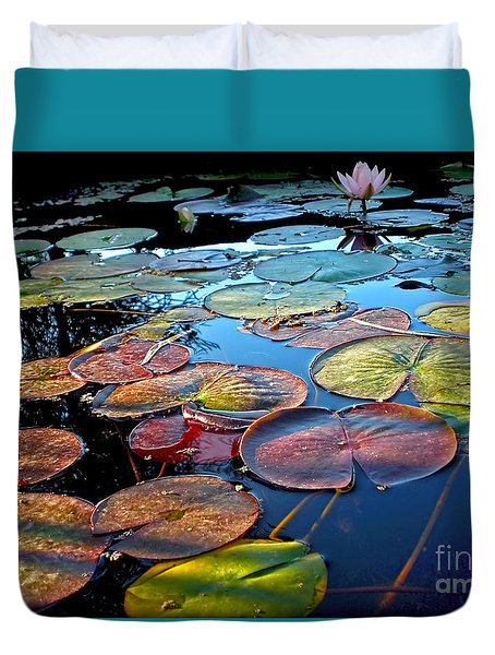 Lily Pads At Sunset Duvet Cover by Kaye Menner